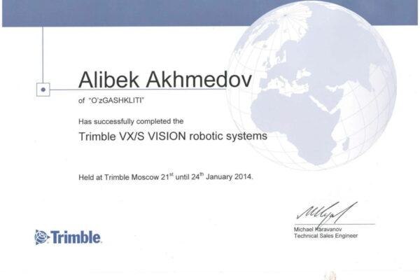 Сертификат Алибек ока-2